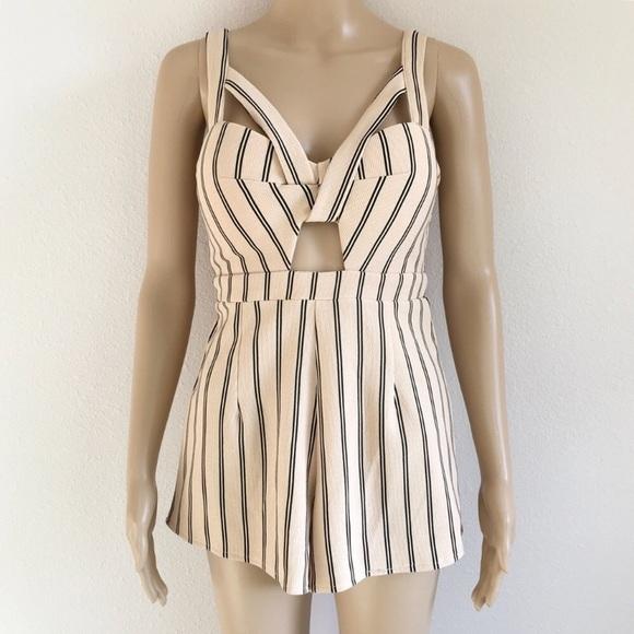 LF Dresses & Skirts - LF Angel Biba peach & black striped romper